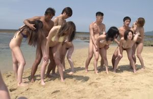 Outdoor Chinese gang-bang lovemaking..