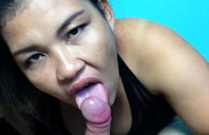 Japanese stepmom helps out with a oral..