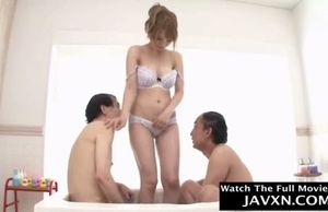 Asian teenager and filthy elderly guys