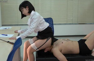 Asian Female dominance Human Tabouret..